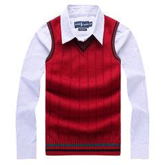 Повседневный вязаный свитер Slim Fit V-образным вырезом Хлопок без рукавов жилет для мужчин