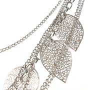 Multilayer Hollow Out Leaves Long Chain Necklace