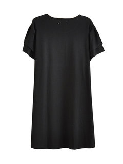 Plus Size Short Sleeve Solid O Neck Pleated Dress