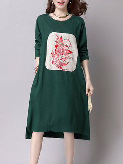 Women Vintage Fish Printed Long Sleeve O Neck Dress