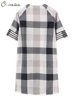 O-NEWE Casual All-Match Plaid 3/4 Sleeve Pocket Long Cotton Cardigan For Women