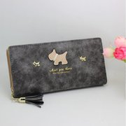 Women Cartoon Dog Long Wallet Tassel Zipper Purse Card Holder Coin Bags Phone Bags
