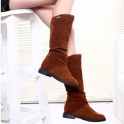 Suede Mid Claf Pure Color Metal Heel Increasing Fur Lining Boots