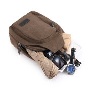 Men Canvas Casual Hiking Outdoor Sports Zipper Portable Chest Bag Shoulder Bag