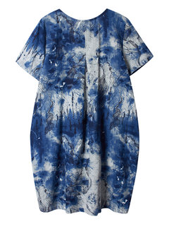 Loose Ink Printed Button Pocket Knee-Length Dress For Women