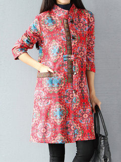 Vintage Women Floral Printed Long Sleeve Pocket Stand Collar Thicken Coat