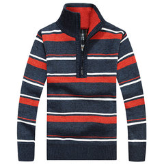 Mens Sweater Warm Thick Zipper Stand Collar Casual Stripe Pullover Knitwear
