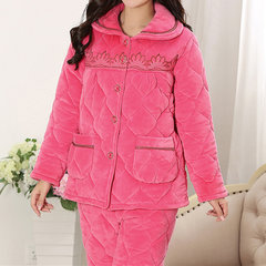 Comfy Flannel Thicken Keep Warm Long Sleeve Embroidery Sleepwear Sets For Women