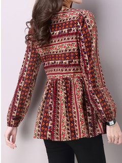 Ethnic Printing Round Neck Long Sleeve Blouse For Women
