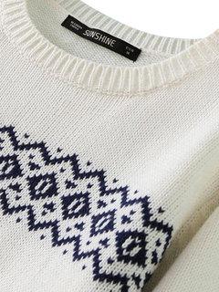 Опрятный Стиль Геометрия Длинные рукава Вязание пуловера Женщины свитер