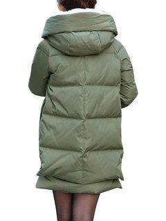 Плюс размер женщин Сыпучие капюшоном Карманный Zipper сгущает пальто