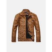 Mens Fashion Stand Collar PU Leather Motorcycle Thick Jacket Casual Atumn Winter Coat