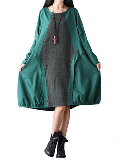 Loose Color Contrast Patchwork O-Neck Long Sleeve Dress For Women