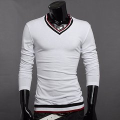Men's Fashion Contrast Color V-neck Collar Long-sleeved Cotton T-shirts