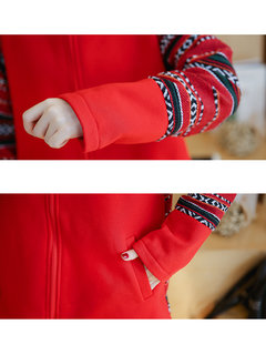 Loose Geometric Printed Patchwork Hooded Thicken Coat For Women