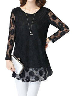 Women Elegant Fashion Flower Hollow Lace Round Neck Blouse