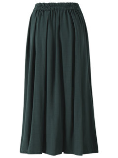 Casual Women Stitching Fold Pure Color High Waist Skirt