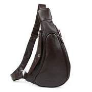Men Genuine Leather Vintage Casual Chest Bag Retro Leisure Shoulder Bag