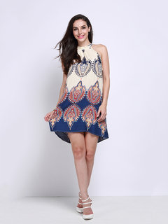 Women Sleeveless Halter Print Mini Dress