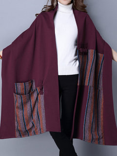 Ethnic Vintage Printing Patchwork Double Pockets Split Plate Button Shawl Coat