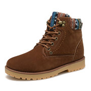 Men Winter Lace Up Pattern Casual Snow Boots