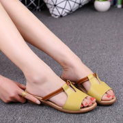 Leather Strappy Hollow Out Peep Toe Soft  Wedge Heel Sandals Slippers