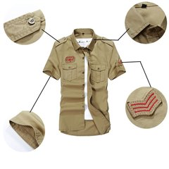 Summer Mens Military Outdoor Turn-down Collar Short Sleeved Cotton Casual Shirts