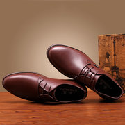 Men Leather Color Match Hollow Out Breathable Business Pointed Toe Shoes