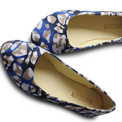 Big Size Floral Print Color Match Dot Canvas Casual Slip On Flat Shoes