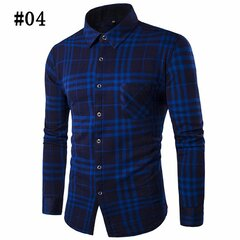 Thicken Plaid Dress Shirts Casual Business Long Sleeve Slim Fit Shirts for Men