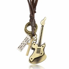 Punk Guitar Cross Medal Pendant Leather Rope Sweater Necklace