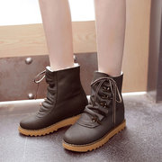Horns Deduction Lace Up Heel Increasing Warm Fur  Boots