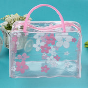 Floral Waterproof Transparent Cosmetic Makeup Wash Bags Toiletry Bathing Pouch