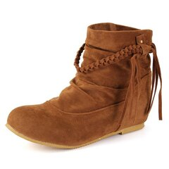 Large Size Suede Tassel Ankle Boots