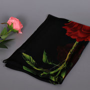 Women Rose Floral Printed Chiffon Scarves Flower Voile Shawls