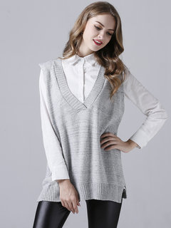 Casual Women V Neck Pure Color Side Split Sleeveless Knit Sweater