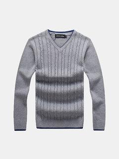Mens вскользь хлопка сплошной цвет толстый теплый V NECL воротник Slim Fit вязаный свитер