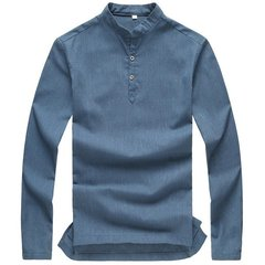 Autumn Winter Long-sleeved Ventilated Solid Color Linen Cotton Leisure Dress Shirts For Men