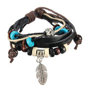 Wooden Bead Leaf Pendant Leather Bracelet