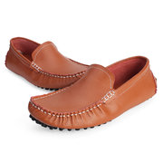 Men Leather Pure Color British Style Slip On Flat Casual Driving Shoes