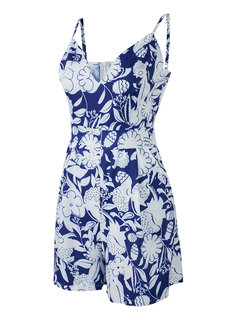 Floral Deep V Sleeveless Strap Backless Women Sexy Jumpsuit