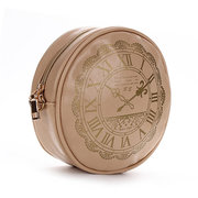 Women PU Leather Round Crossbody Bags Casual Clock Print Shoulder Bags