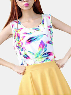 Plus Size Women Sleeveless Round Neck Feather Printed Vest