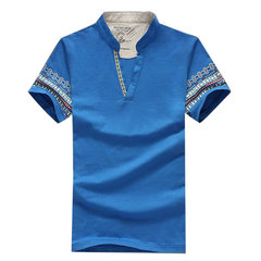 Men's Summer Large Size Cool Tops Stand Collar V-neck Printing Cotton T-shirts