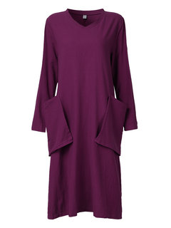 Casual Loose V Neck Long Sleeve Pure Color Pocket Maxi Dress For Women