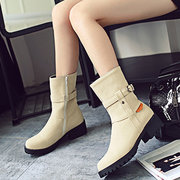 Big Size Buckle Button Zipper Mid Calf Metal Square Heel Boots