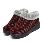 Ball Dot Fur Lined Pure Color Slip On Ankle Work Flat Boots