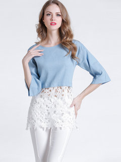 Elegant Lace Hollow Out Patchwork T-Shirt For Women