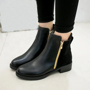 Black Zipper Color Match Square Heel Ankle Boots For Women