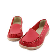 Pure Color Stitching Flat Casual Leather Comfortable Brethable Loafers